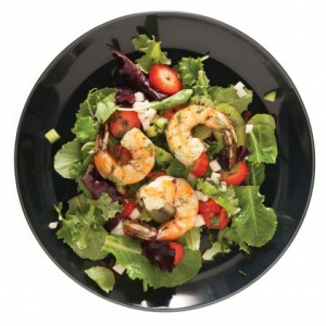 Strawberry, Kiwi and Mint Chop-Chop with Roasted Shrimp